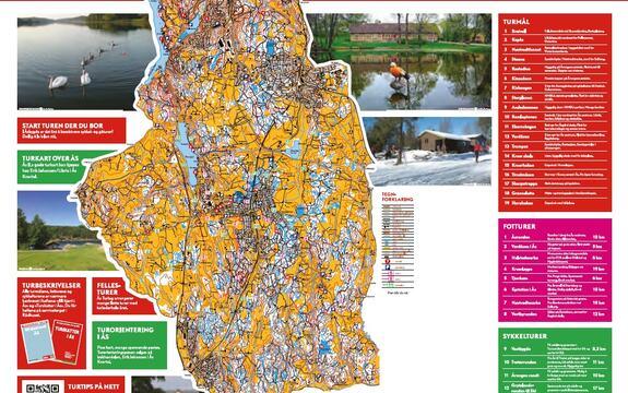 Kart med turforslag i Ås, illustrasjon