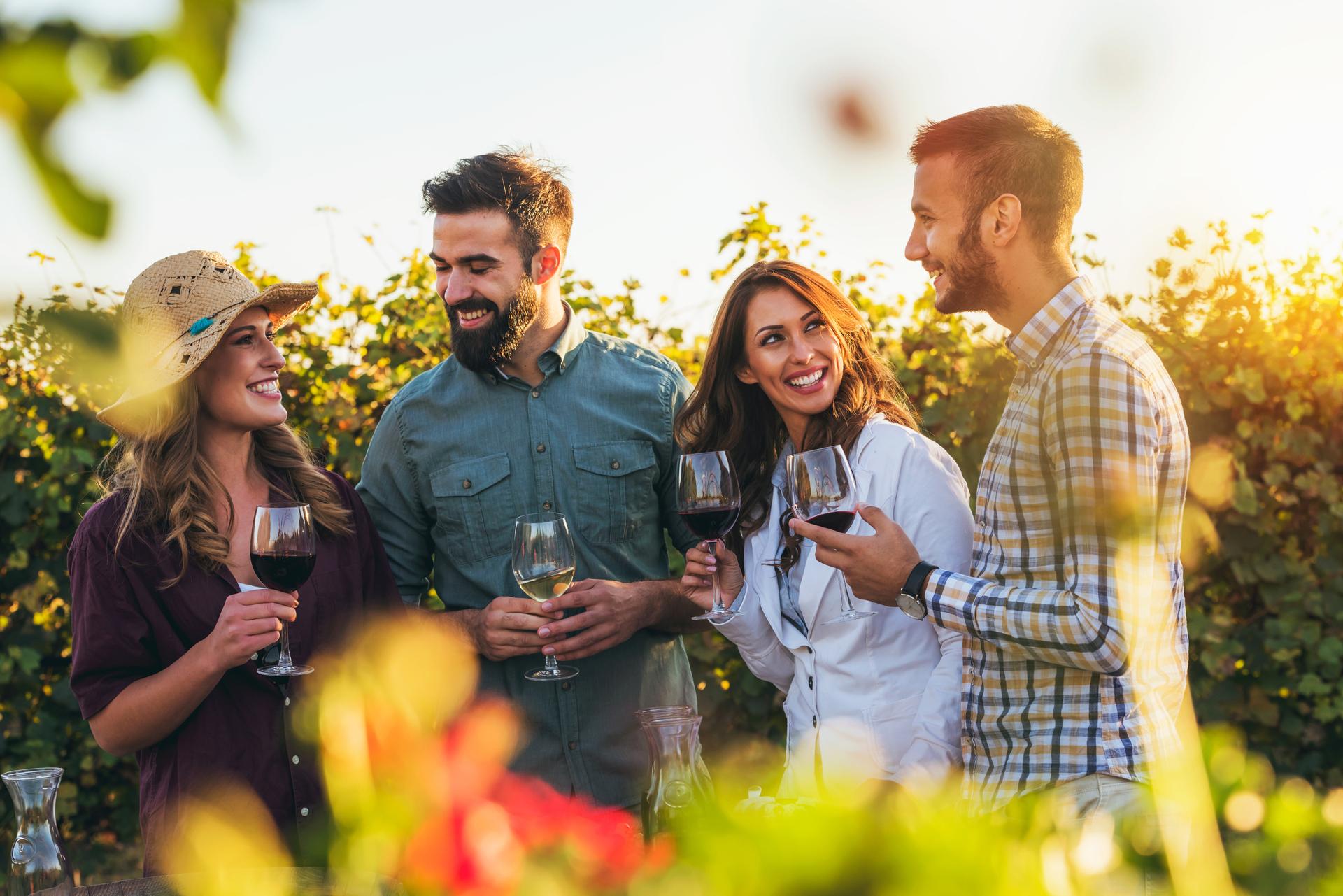 Happy friends having fun drinking wine at winery vineyard - Frie