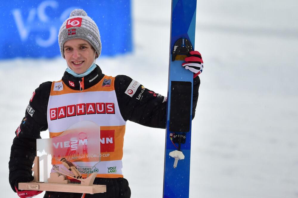 06.02.2021, Klingenthal, Germany (GER):Halvor Egner Granerud (NOR), podium - FIS world cup ski jumping men, individual HS140, Klingenthal (GER). www.nordicfocus.com. © Reichert/NordicFocus. Every downloaded picture is fee-liable.