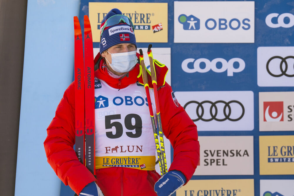 29.01.2021, Falun, Sweden (SWE):Simen Hegstad Krueger (NOR) - FIS world cup cross-country, 15km men, Falun (SWE). www.nordicfocus.com. © Thibaut/NordicFocus. Every downloaded picture is fee-liable.