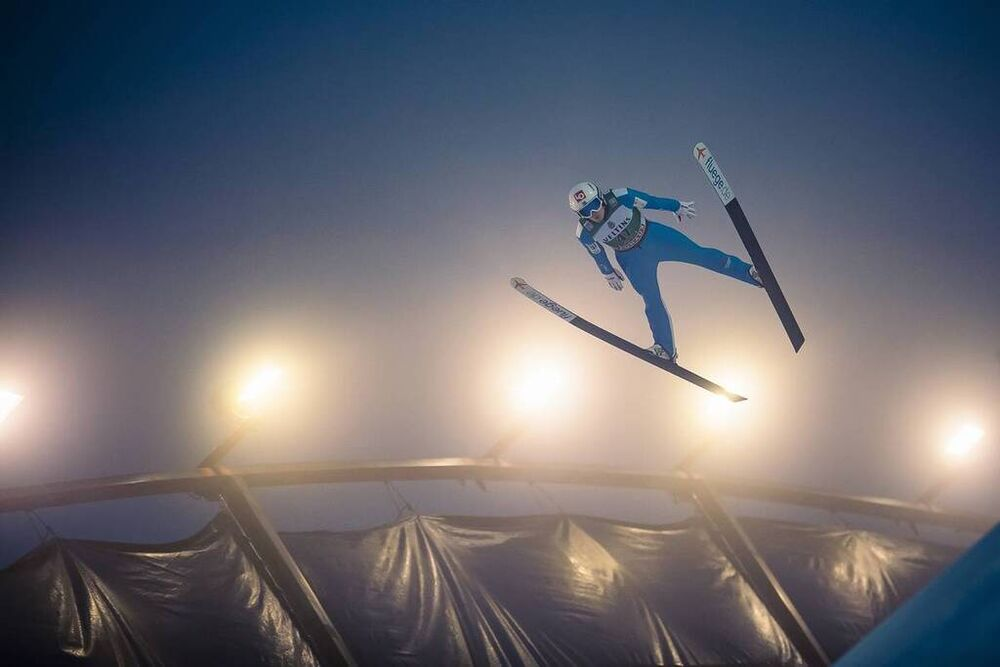 24.01.2021, Lahti, Finland (FIN):Marius Lindvik (NOR) - FIS world cup ski jumping men, individual HS130, Lahti (FIN). www.nordicfocus.com. © Modica/NordicFocus. Every downloaded picture is fee-liable.