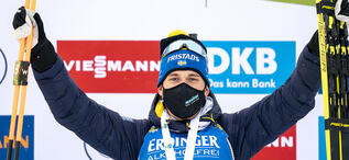 12.02.2021, Pokljuka, Slovenia (SLO):Martin Ponsiluoma (SWE) - IBU World Championships Biathlon, sprint men, Pokljuka (SLO). www.biathlonworld.com © Thibaut/IBU. Handout picture by the International Biathlon Union. For editorial use only. Resale or dist