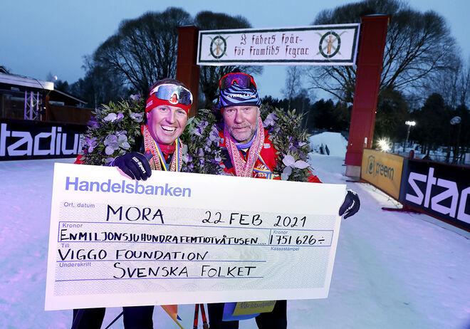Äntligen i mål gick Måns & Christer, Måns son Viggo åkte med de sista 9 km.Komikern Måns Möller och längdcoachen Christer Skog klarade att åka världens längsta Vasalopp, ett världsrekordförsök – 10 Vasalopp