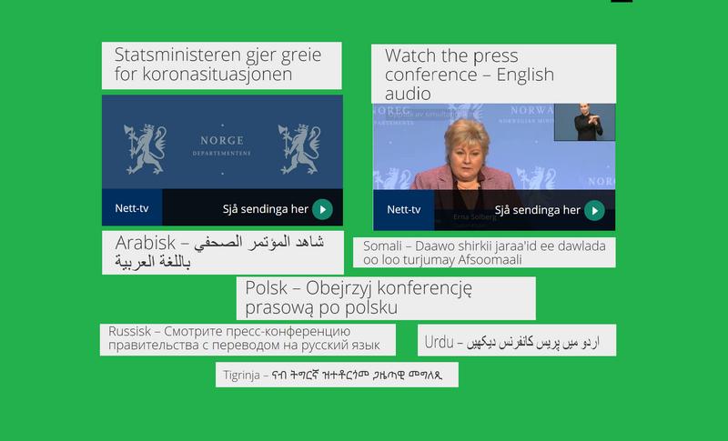 Regjeringens pressekonferanse tirsdag 9. mars oversatt til flere språk