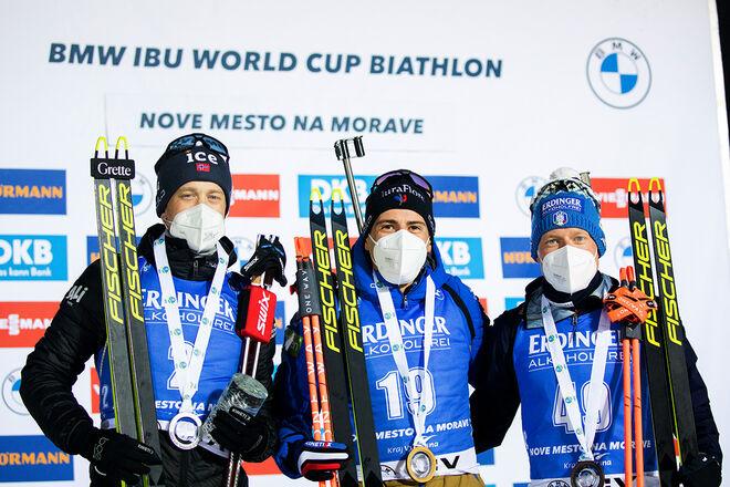 11.03.2021, Nove Mesto, Czech Republic (CZE):Tarjei Boe (NOR), Quentin Fillon Maillet (FRA), Lukas Hofer (ITA), (l-r) - IBU World Cup Biathlon, sprint men, Nove Mesto (CZE). www.biathlonworld.com © Manzoni/IBU. Handout picture by the International Biath