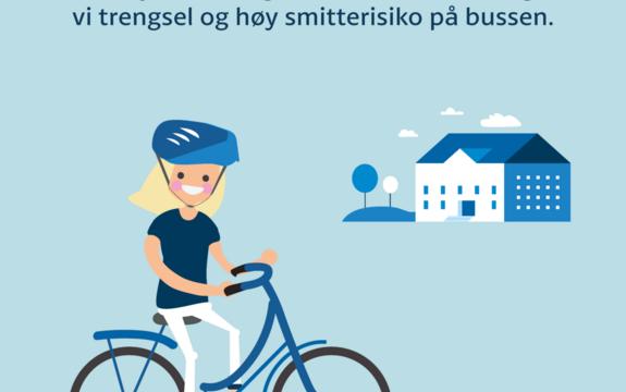 Velger du å sykle eller gå fremfor å ta bussen? Da er du med på å minske smittefaren. Illustrasjon: Viken fylkeskommune.