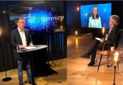 Bjørn Arild Gram, styreleder i KS, åpnet eKommune sammen med Linda Hofstad Helleland, digitaliseringsminister og Paul Chattey, statssekretær (H). Foto: KS