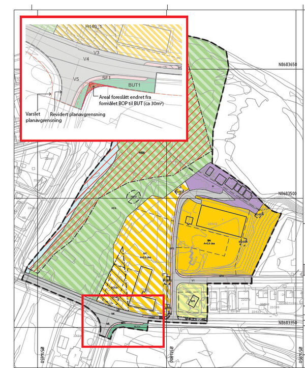 D59 Sjøskrenten - kart varsel om endret planavgrensning