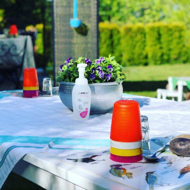 Foto fra en hage med dekket bord og antibac