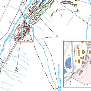 Illustrasjon utvidet planområde, endring markert med rød skravur