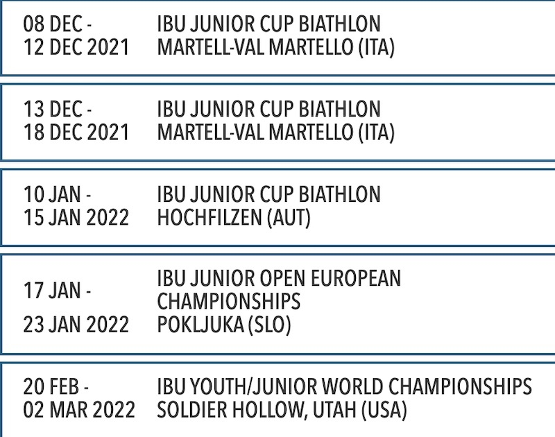 Calendrier 2022 Biathlon Biathlon   Le calendrier de la Junior Cup 2022   Sports Infos