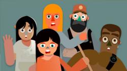 Hvert tema starter med en kort videosnutt. Scenene er hentet fra hverdagen, og dette er situasjoner mange kan kjenne seg igjen i. Illustrasjon: Idébanken.org