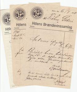 Hølen Brennevinssamlag-Kvitteringer